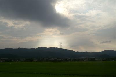 光る山と白鷺