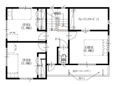 01シンプルモダン4LDKの家-2F平面図