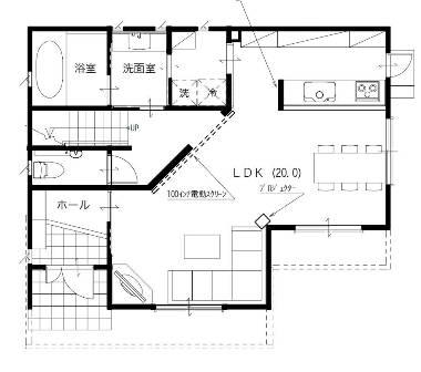02プライベート映画館を持つ家-1F平面図