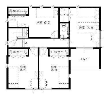 02プライベート映画館を持つ家-2F平面図