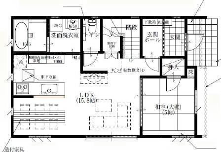 03太陽光発電パネル搭載「4面の顔を持つ家」-1F平面図