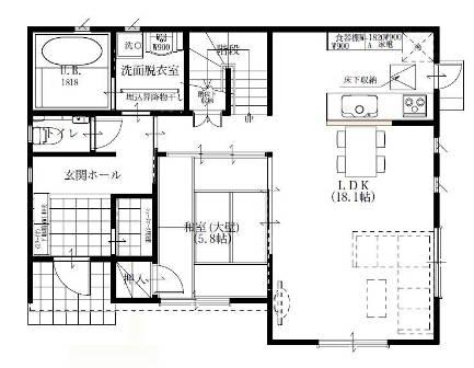 04ヨーロピアンシンプル5LDKの家-1F平面図