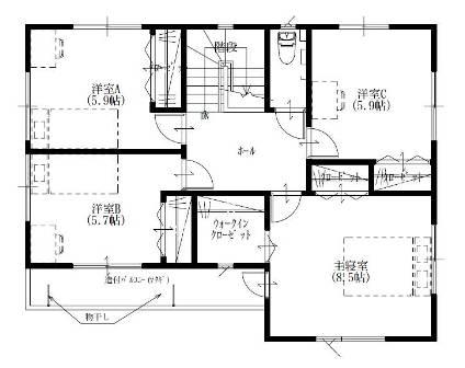 04ヨーロピアンシンプル5LDKの家-2F平面図