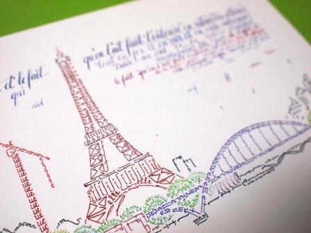 パリで買ったエッフェル塔のデザインのカリグラフィーカード