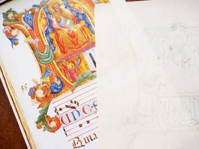 模写を始めました カリグラフィーとイルミネーション(西洋写本装飾)の教室 モジ・アカデミア(南青山) by カリグラファー西村弥生