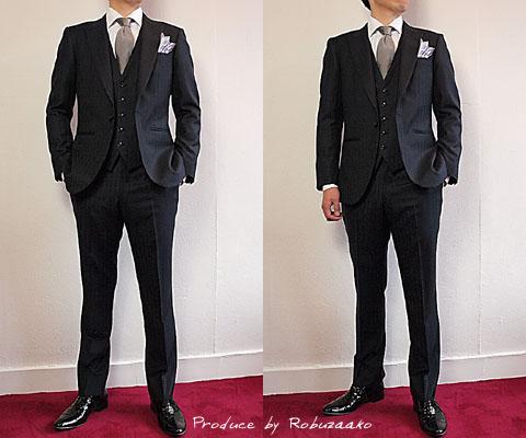 式にご招待されたとのことで、結婚式ゲスト用のフォーマルウェアとその他に着用されるブラックスーツの2着と、オーダーシャツのご注文を頂戴いたしました。