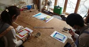ステンドグラス手作りウェルカムボード