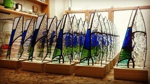 ステンドグラス 透明ガラス シンプル ナチュラル トロフィー 盾