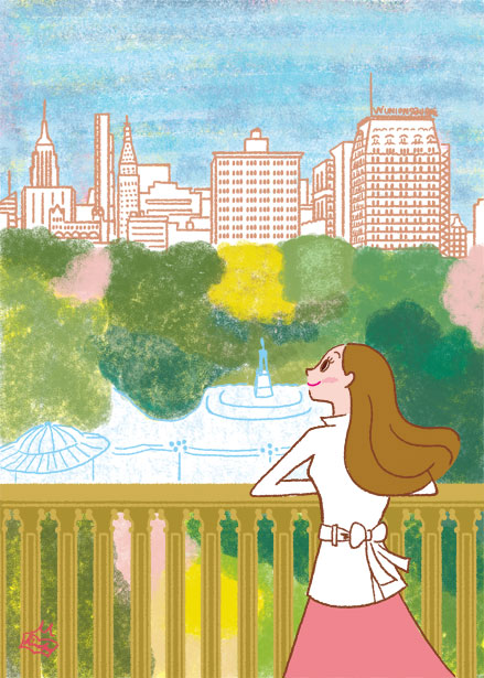 女性イラスト,NYの思い出,オリジナルイラスト