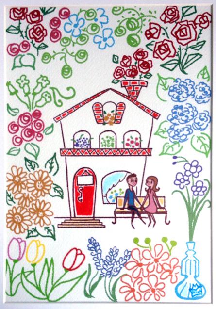 女性イラスト,花イラスト,家イラスト,結婚イラスト,オリジナルイラスト,花(華)のある家