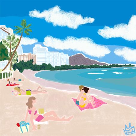 風景イラスト,景色イラスト,ビーチイラスト, hawai