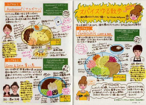 フリーマガジン「スパイス女子 vol.04」食べ歩きイラストルポ,食レポイラスト,カレー食べ歩きルポ