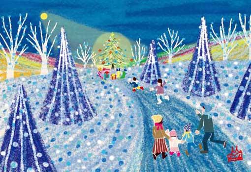 オリジナルイラスト「クリスマス」風景イラスト,景色イラスト,ドラマのある風景,クリスマスイラスト,冬イラスト