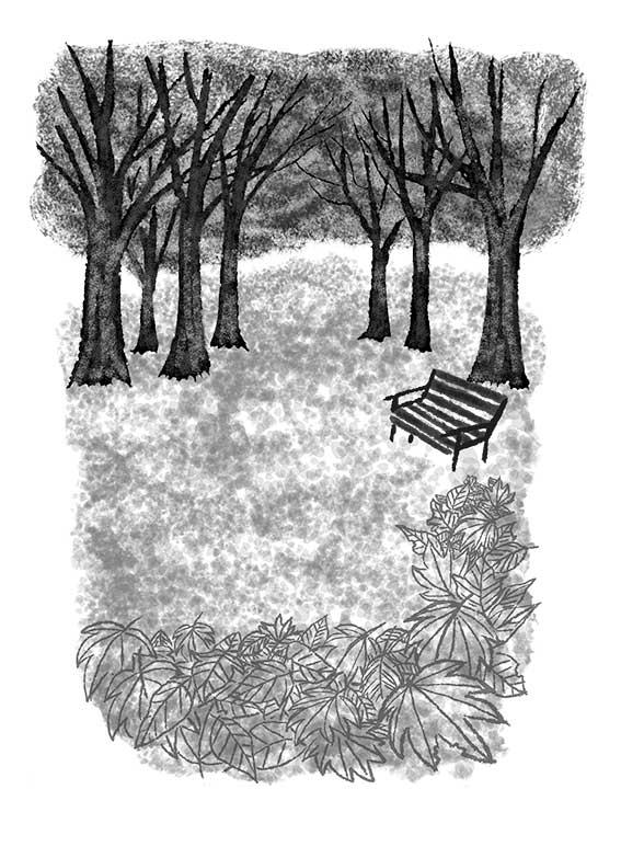 オリジナルイラスト「落ち葉と公園」 モノクロイラスト,風景イラスト,景色イラスト,公園イラスト