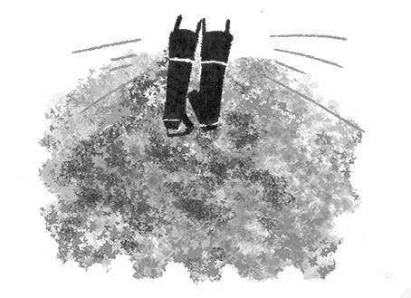オリジナルイラスト「落ち葉と公園3」 モノクロイラスト,風景イラスト,景色イラスト,公園イラスト