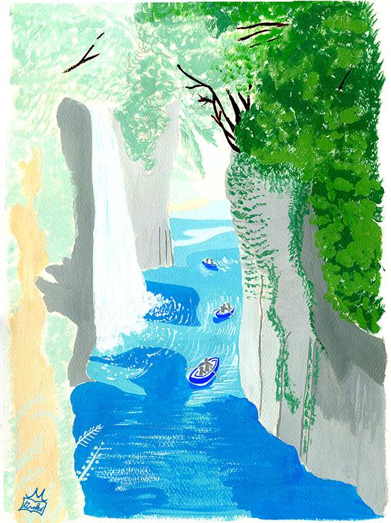 47PR地方発いいもの発見プロジェクトWEBサイト 47エッセイコラムーNo, 11 宮崎県 「高千穂峡」 春  風景イラスト,景色イラスト,滝イラスト,宮崎イラスト