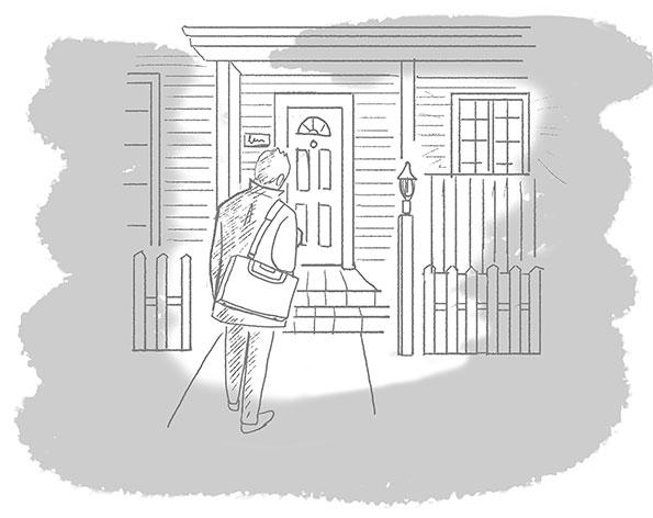 オリジナルイラスト「父の帰宅」モノクロイラスト,線画イラスト,ラフイラスト,イメージイラスト