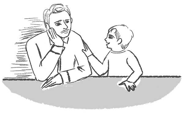 オリジナルイラスト「父と息子」モノクロイラスト,線画イラスト,ラフイラスト,イメージイラスト