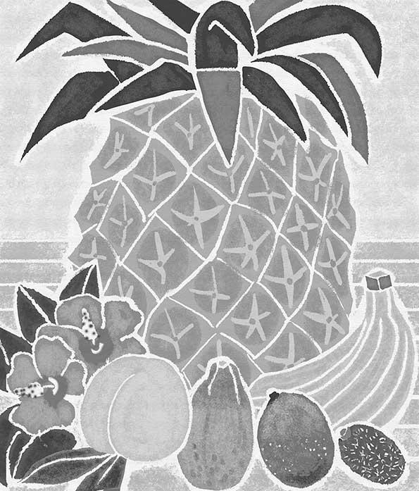 白夜書房発刊 雑誌「クロスワードランド」2017年8月号 果物イラスト,南国フルーツイラスト,食べ物イラスト,果実イラスト