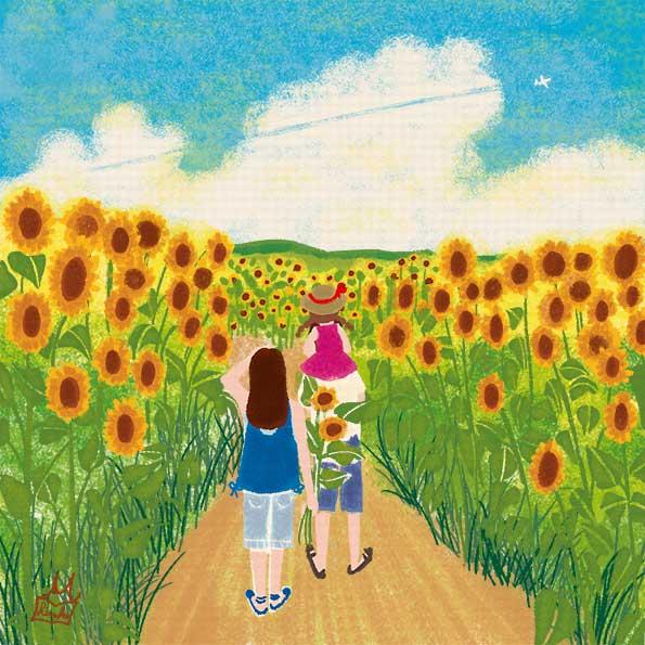 オリジナルイラスト「向日葵畑と飛行機雲」風景イラスト,景色イラスト,花のある風景,夏イラスト,向日葵イラスト