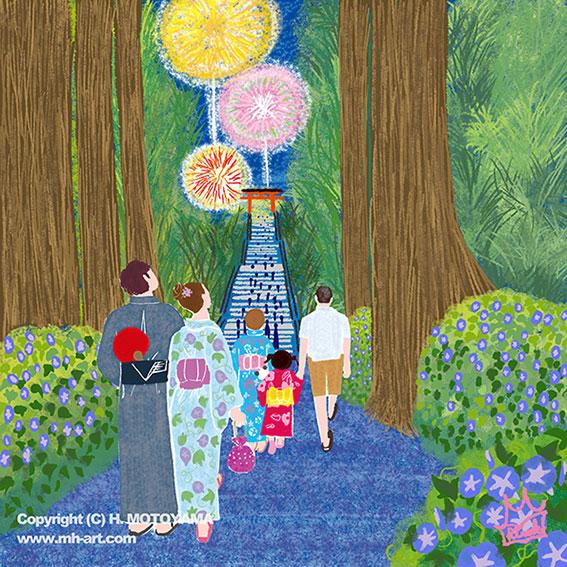 オリジナルイラスト「朝顔と花火」風景イラスト,景色イラスト,花のある風景,夏イラスト,花火イラスト,朝顔イラスト