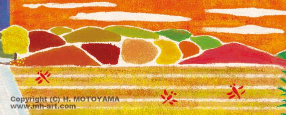 白夜書房発刊 雑誌「クロスワードランド」2017年11月号 童謡、唱歌イラスト,田園風景イラスト,景色イラスト,四季イラスト,田舎風景