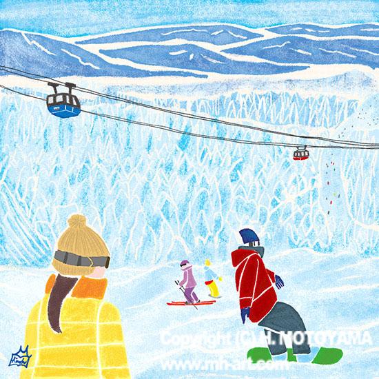 47PR地方発いいもの発見プロジェクトWEBサイト 47エッセイコラム-N0.14- 山形県「蔵王・樹氷」冬 風景イラスト,景色イラスト,雪イラスト,旅イラスト,イラストエッセイ