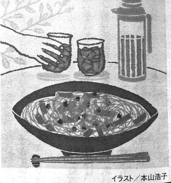 光文社発刊小説誌「小説宝石」2018年5月号 連載14 コラムイラスト,エッセイイラスト,料理イラスト,素麺イラスト,レシピイラスト