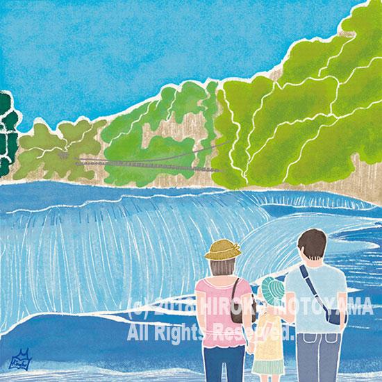 47PR地方発いいもの発見プロジェクトWEBサイト 47エッセイコラム-N0.16- 群馬県「吹割の滝」 夏 風景イラスト,景色イラスト,夏イラスト,滝イラスト,旅イラスト,イラストエッセイ