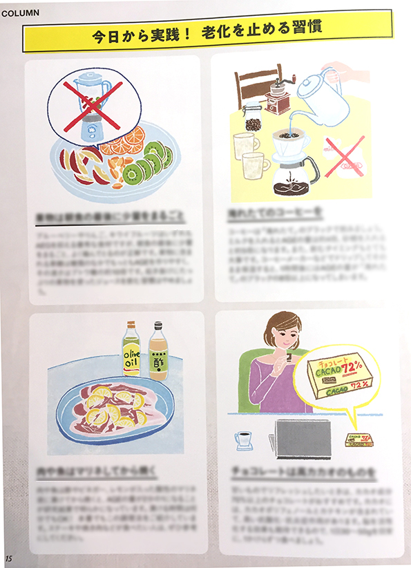 新星出版発刊「老けない人の最強レシピ」イラスト,食材イラスト,食べ物イラスト,イメージイラスト