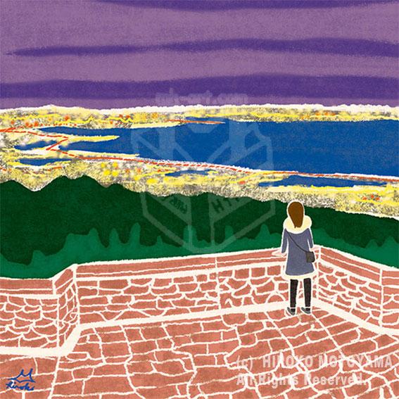 47PR地方発いいもの発見プロジェクトWEBサイト 47エッセイコラム-N0.18- 兵庫県「六甲山の夜景」冬 風景イラスト,景色イラスト,冬イラスト,夜景イラスト,旅イラスト,イラストエッセイ