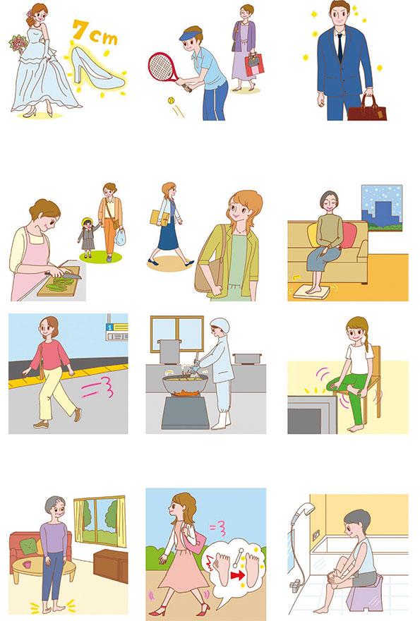 マキノ出版発刊 マキノムック「外反母趾を自分で治す最強療法」イラスト,女性イラスト,高齢者イラスト,健康イラスト,美容イラスト