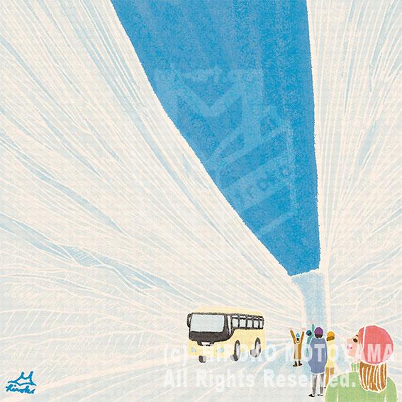 47PR地方発いいもの発見プロジェクトWEBサイト 47エッセイコラム-N0.21- 富山県「立山黒部 大谷の雪の回廊」冬 風景イラスト,景色イラスト,秋イラスト,旅イラスト,イラストエッセイ
