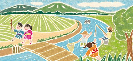 白夜書房発刊「クロスワードランド2020年7月号」イラスト,子供イラスト,童画,わらべうたイラスト,田舎イラスト,牧歌的