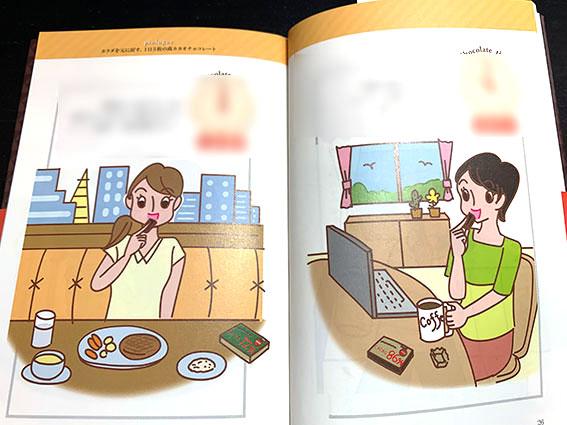 学研発刊 書籍「お腹の脂肪は 高カカオチョコレートですっきり落ちる!」挿絵 人物イラスト,女性イラスト,ダイエットイラスト,健康イラスト