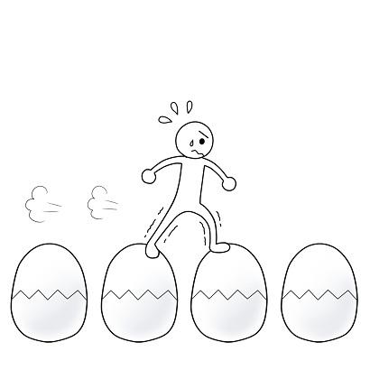 イラスト英語】walk on eggshell...