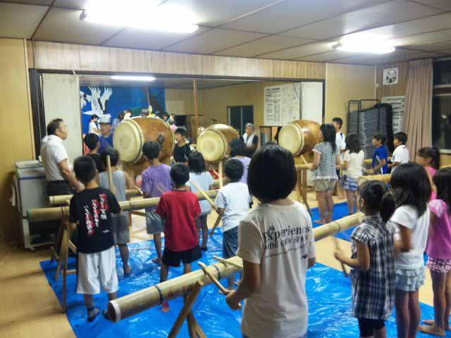 江合夏まつり竹太鼓の練習風景