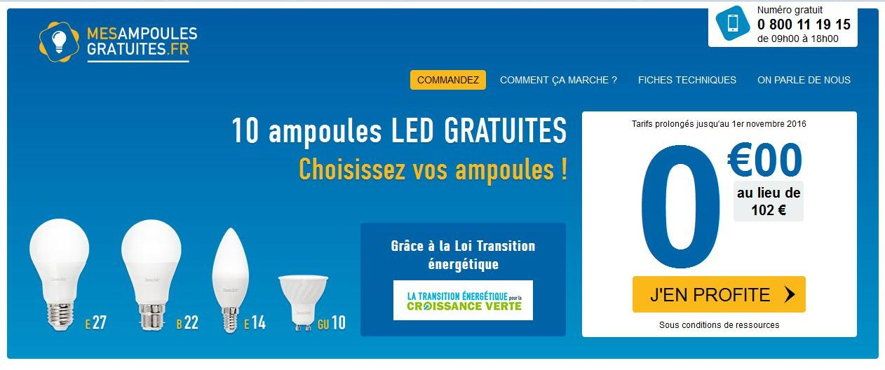 mes ampoules gratuites 10 ampoules led gratuites led10. Black Bedroom Furniture Sets. Home Design Ideas