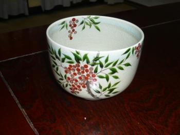 南天柄の抹茶茶碗