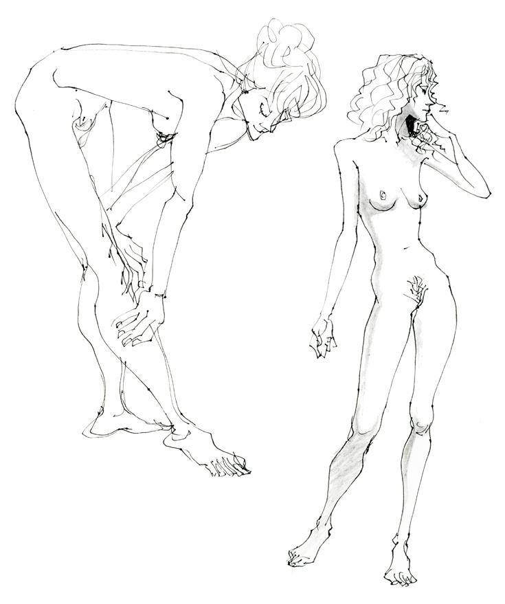 女性ヌードデッサンmakoイラスト