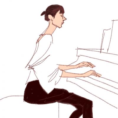 ミュージシャン、iPadイラスト、mako、ピアノ、女,