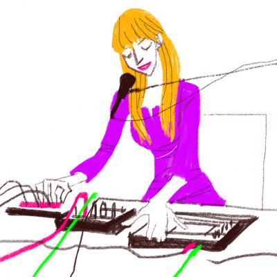 ミュージシャン、iPadイラスト、シンセサイザー女