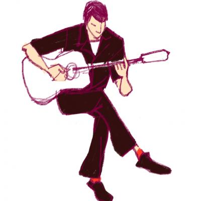 ミュージシャン、iPadイラスト、ギターリスト男