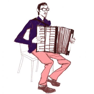 ミュージシャン、iPadイラスト、アーコディオン