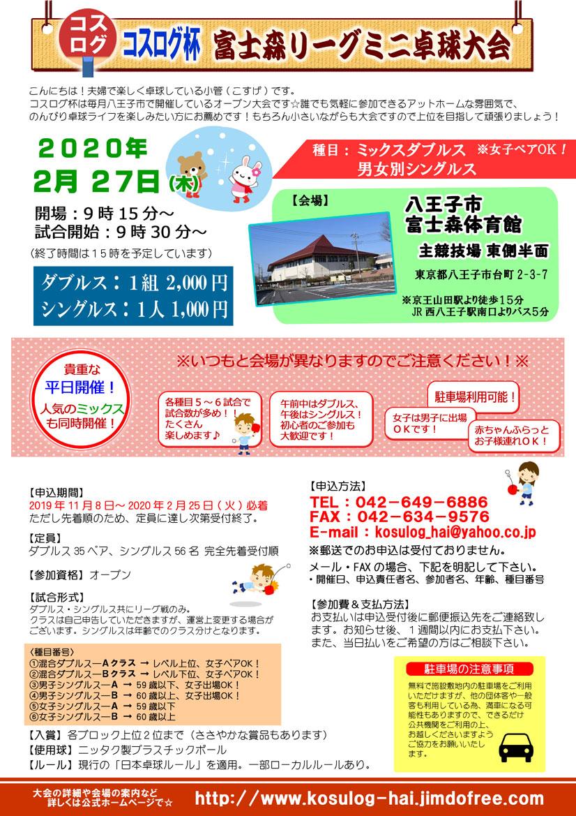 八王子オープン卓球大会平日開催