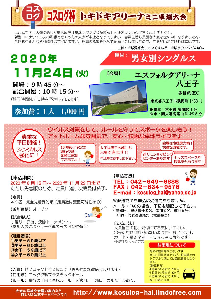 東京都八王子市のオープン卓球大会シングルス