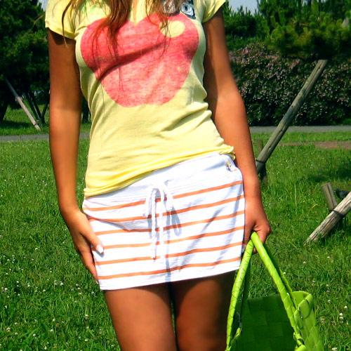 PINK:Nautical&niceアップリケ付スウェットミニスカート(オレンジ)