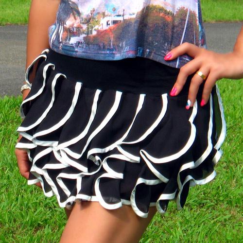 【セレクト】STRIP CABARETパンツ付きシフォンフラワーカットミニスカート