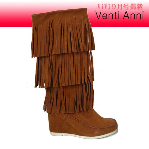 【Vente Anni】ViVi9月号掲載◆ウェッジタイプ3段フリンジロングブーツ(キャメル)