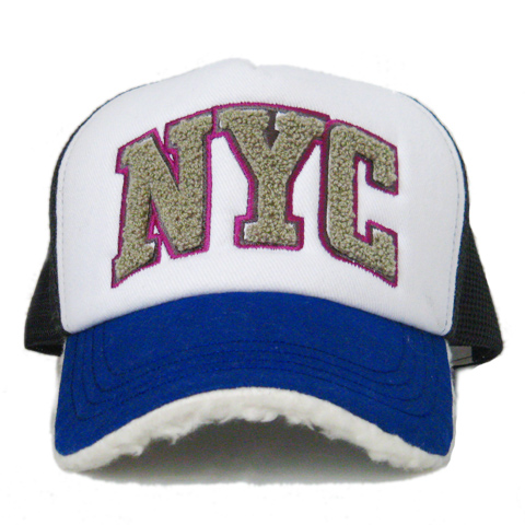 【セレクト】今期新作☆ボア付きアメリカンメッシュキャップ「NYC」